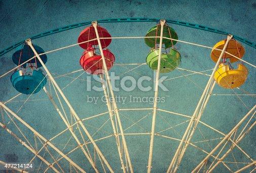 istock Vintage grunge background with ferris wheel 477214124