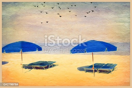 Vintage grunge beach vacation scene. Digitally manipulated. Beach with sun umbrellas and beach lounge chairs.