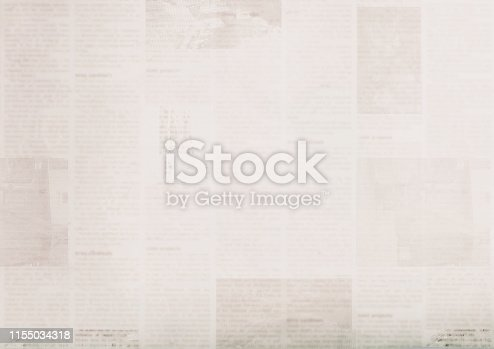 istock Vintage grunge newspaper paper texture background. Blurred old newspapers background 1155034318