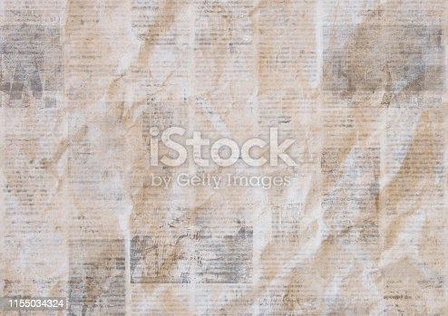 istock Vintage grunge newspaper paper texture background. Blurred old crumpled newspapers backdrop 1155034324