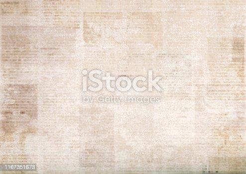 928623156 istock photo Vintage grunge newspaper paper texture background. Blurred old newspaper background. 1167351673