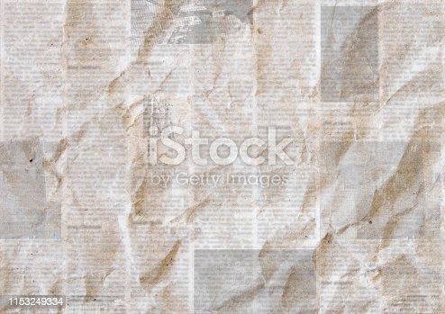 istock Vintage grunge newspaper paper texture background. 1153249334
