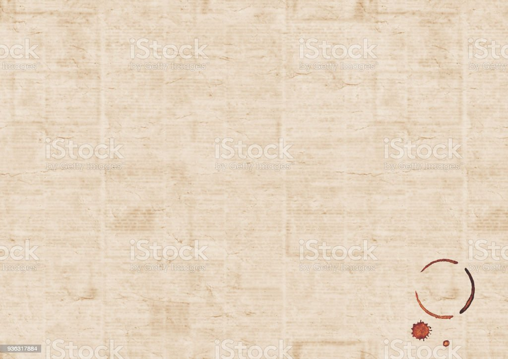 Vintage Grunge Newspaper Texture Background With Coffee Cup Trace Royalty Free Stock Photo