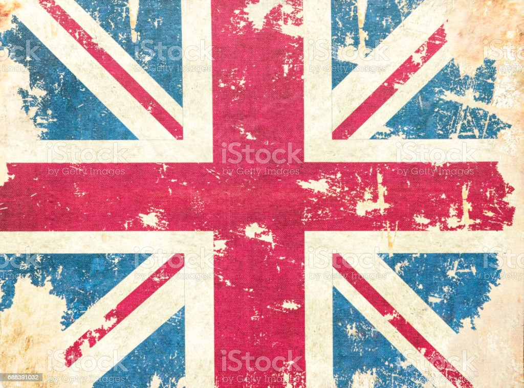 Vintage grunge United Kingdom flag background textured stock photo