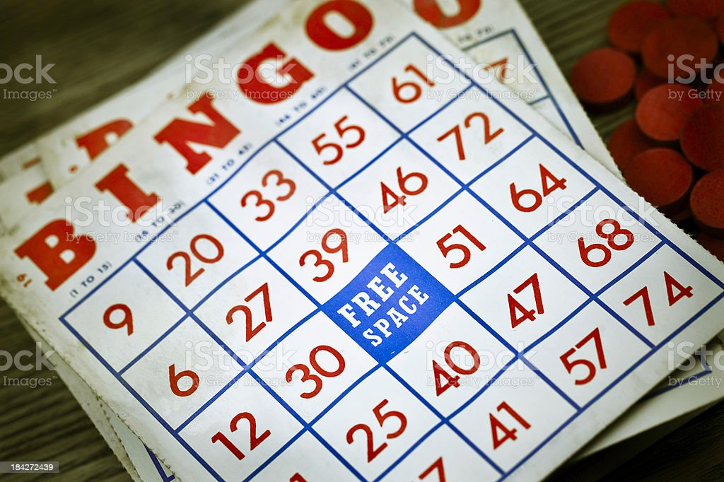 Vintage Grungy Bingo Cards stock photo