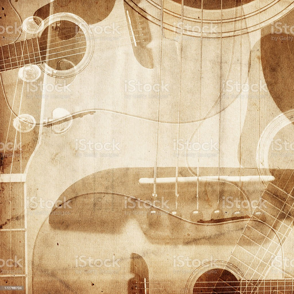 Vintage Guitar Paper XXXL royalty-free stock photo