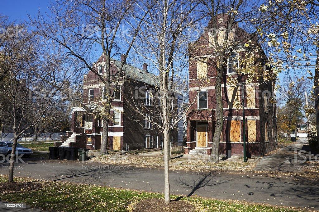 Meia Vintage fechado de casas em Chicago - foto de acervo