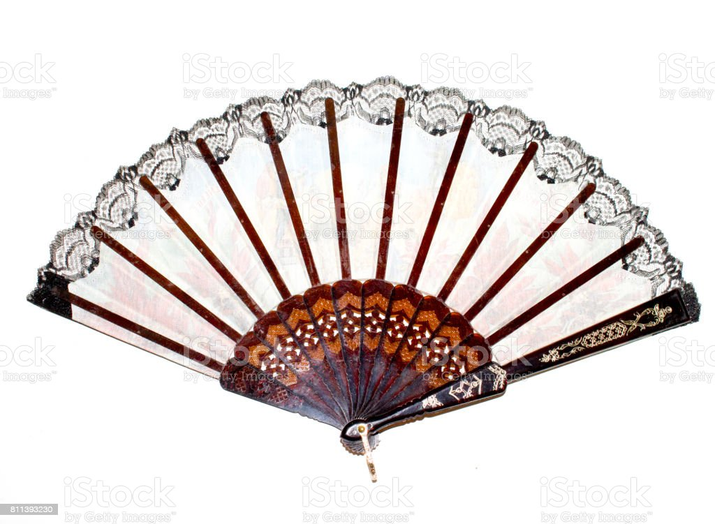 Vintage Hand Fan on White Background stock photo