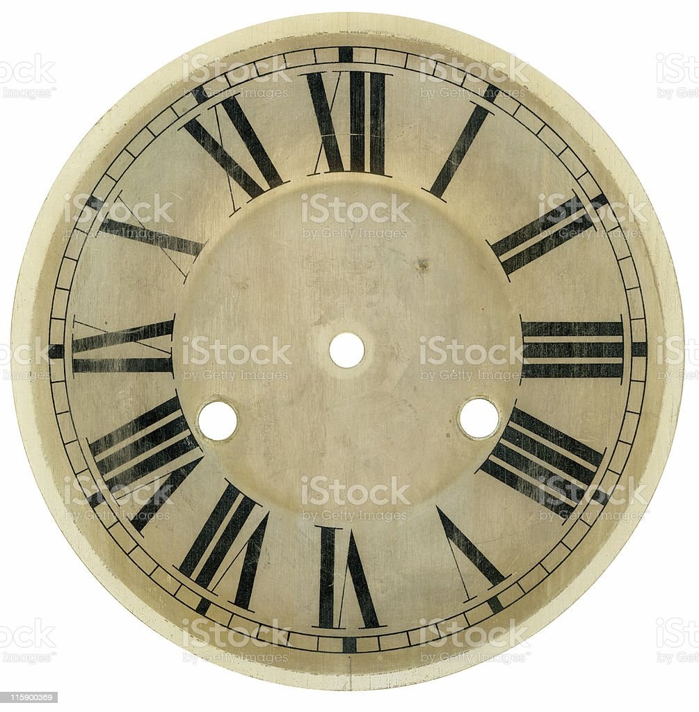 Vintage hand painted clock face with Roman numerals stock photo