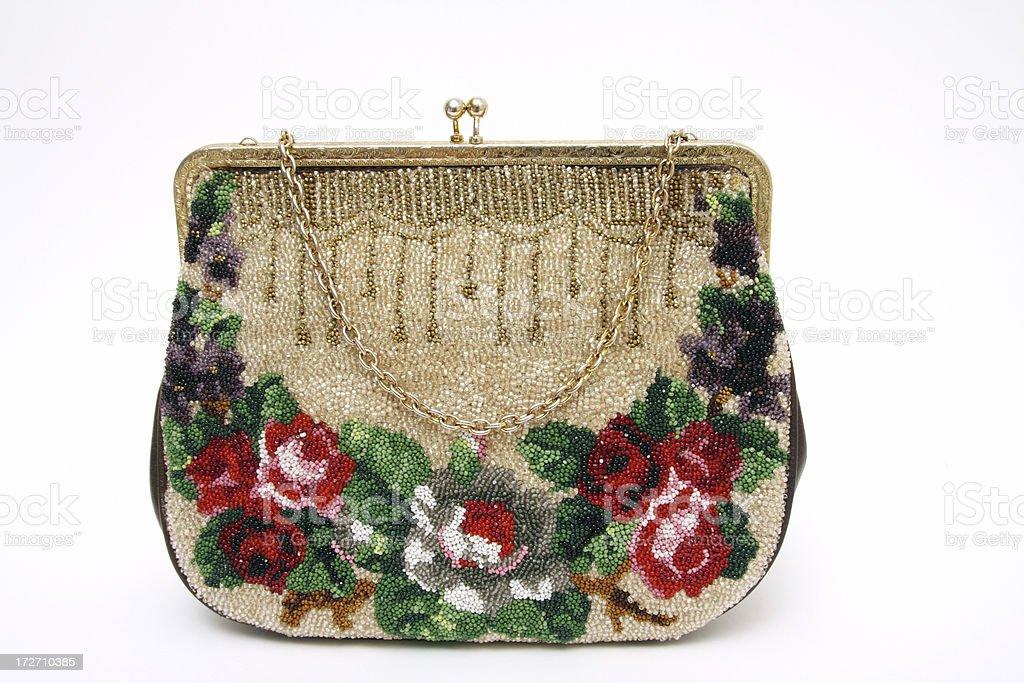 Vintage handbag with beads royalty-free stock photo