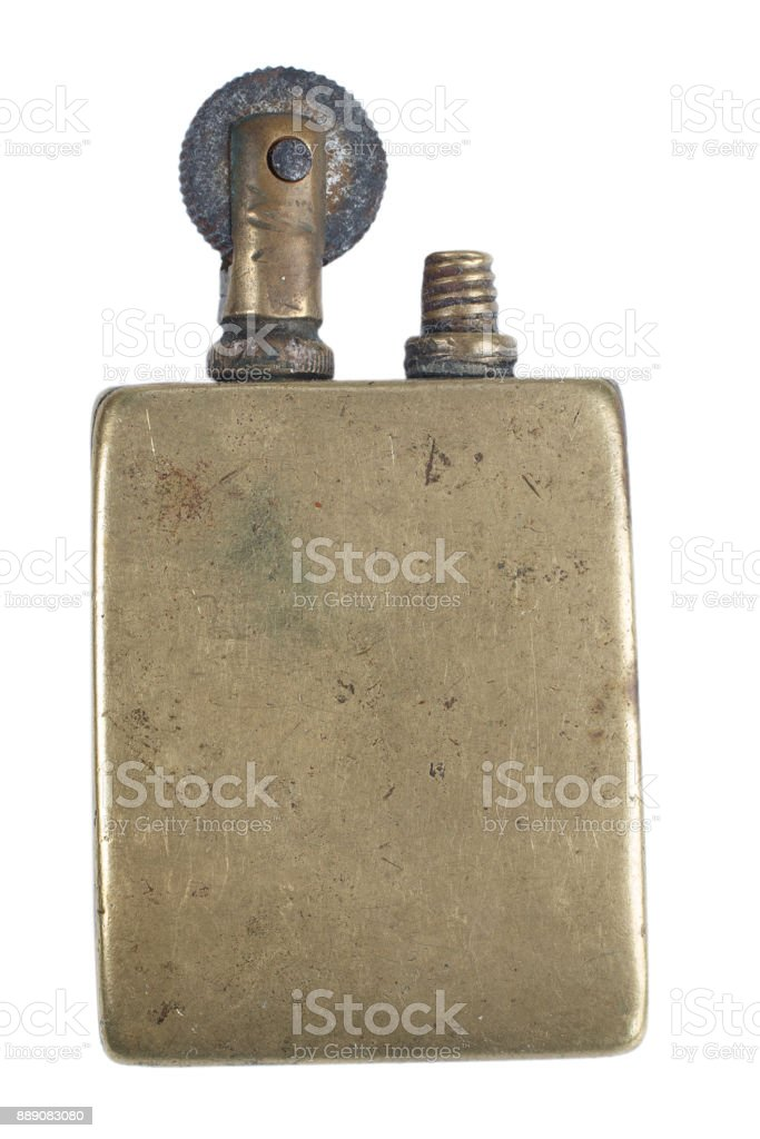 Vintage handmade cigarette lighter isolated on a white background. stock photo
