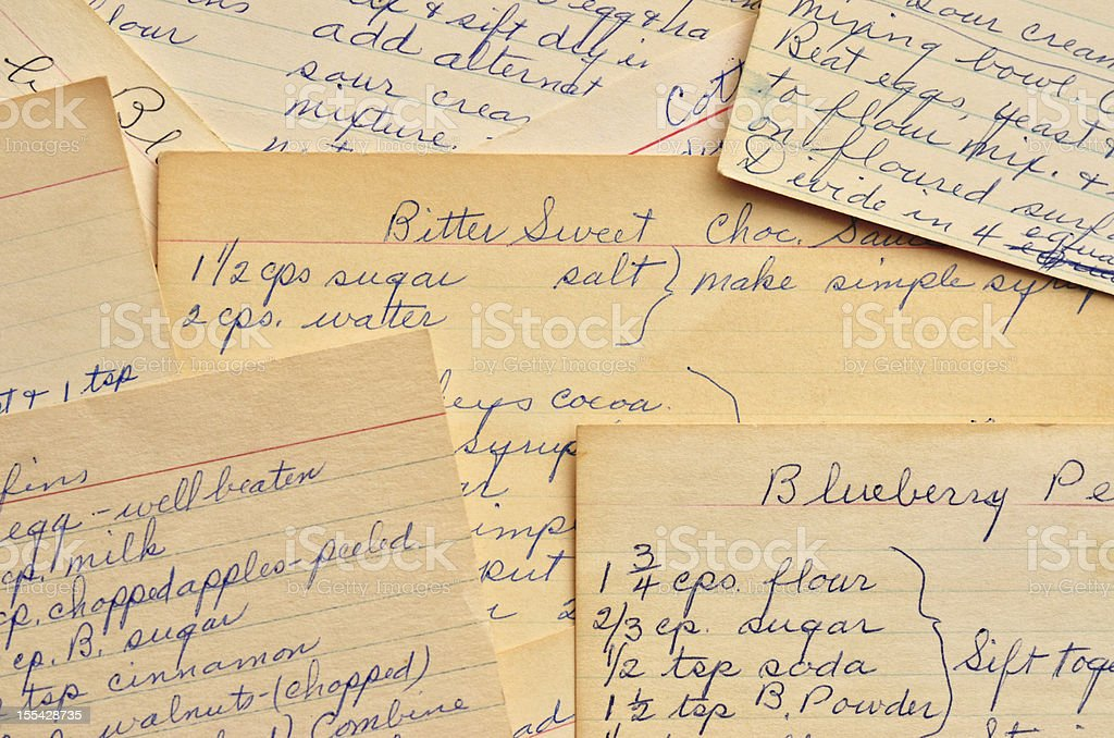 Vintage handwritten recipe cards for baked desserts stock photo handwriting ink color image food and drink horizontal vintage handwritten recipe cards forumfinder Images