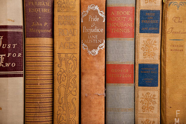 Vintage Hardcover Books from Early 1900s stock photo