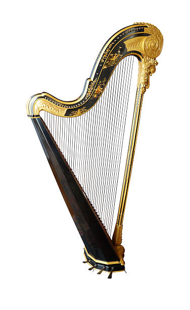 vintage harp - harpist stock photos and pictures