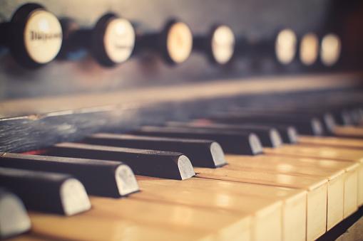 Vintage harpsichord keyboard