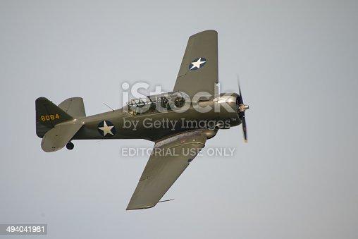 Abingdon, Oxfordshire, UK - May 4, 2014: A vintage North American Harvard training aircraft flying at Abingdon Air Show.