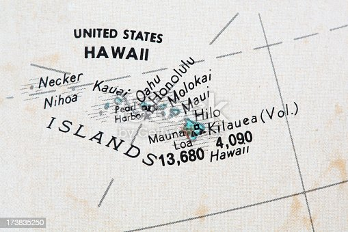 Vintage Hawaii map part of a world globe.