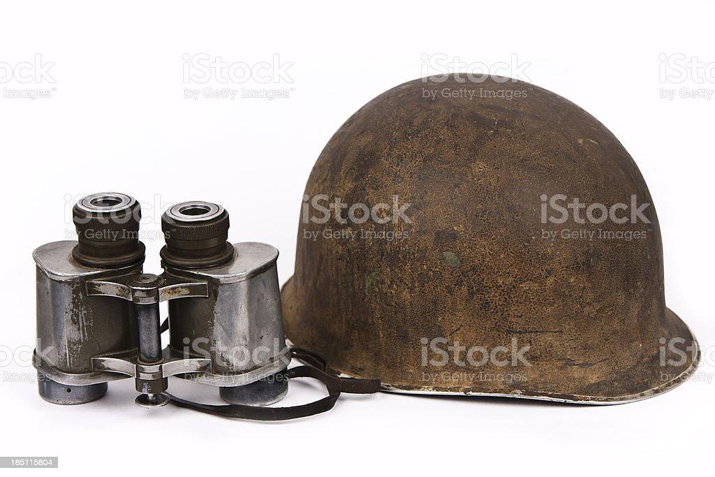 Vintage Helmet and Binoculars stock photo