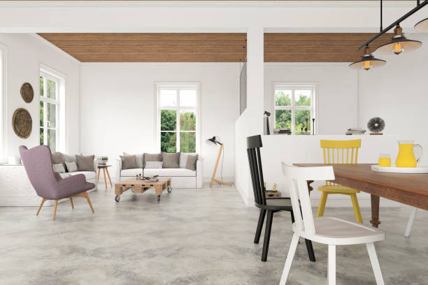 vintage hipster apartment interior - cement floor stock photos and pictures