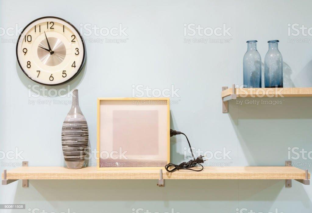 Vintage Home Decor Wood Shelves With Frame Vase Houseplants
