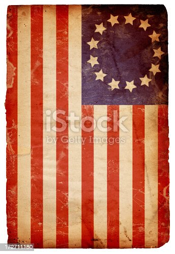 Image of an old, distressed 13-star flag of the original 13 colonies made by Betsy Ross. Flag is on an old, grungy piece of isolated XXXL paper. Great historical background file/design element. See more quality images like this one in my portfolio.