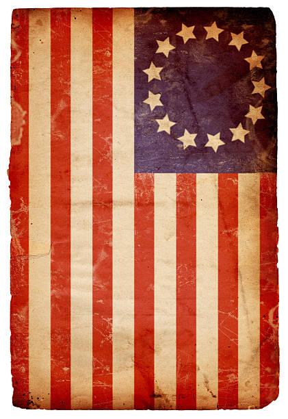 Vintage horizontal American flag background stock photo