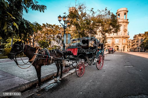 Havana, Cuba - 12th of October, 2018. An old horse carriage in the center of Havana near El Capitolio,