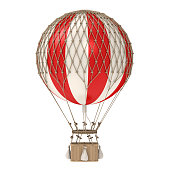 Vintage Hot Air Balloon isolated on white background. 3D render