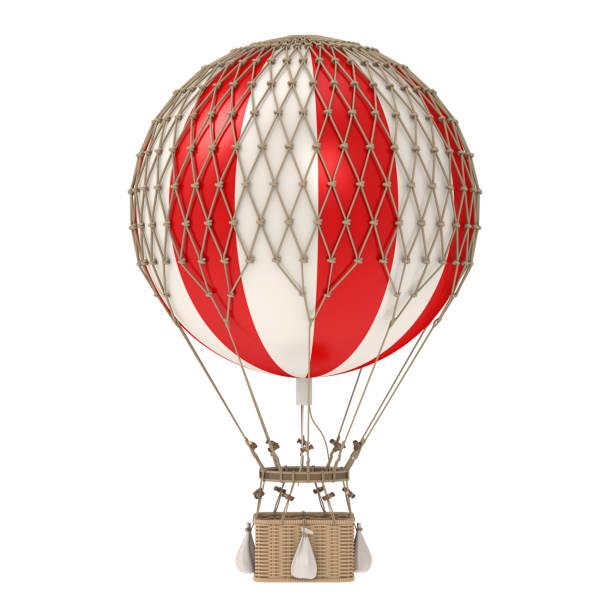 vintage hot air balloon isolé - montgolfière photos et images de collection