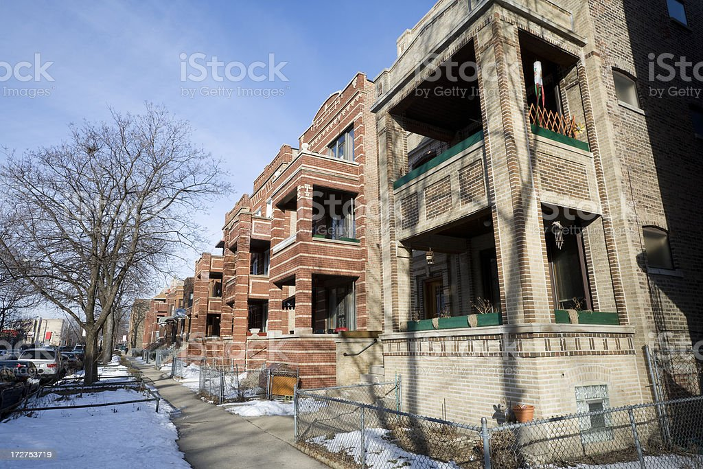 Vintage Houses in Chicago royalty-free stock photo