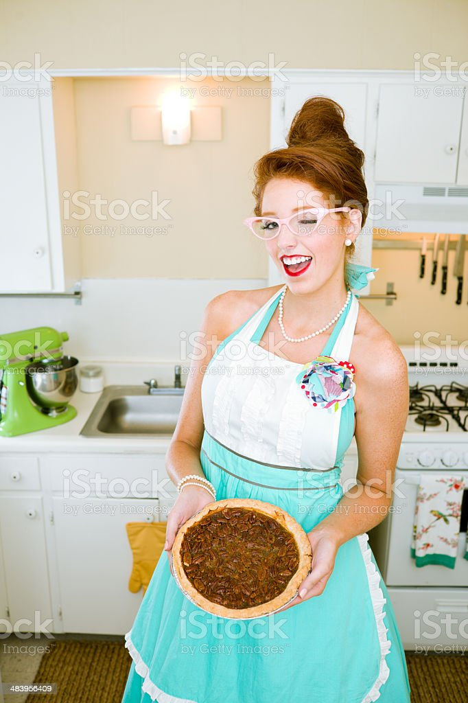 Vintage Housewife Winking royalty-free stock photo