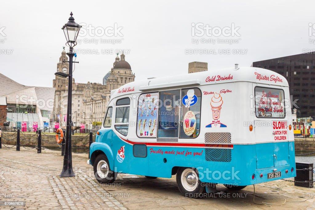 Vintage ice-cream van in Albert Docks, Liverpool, UK stock photo