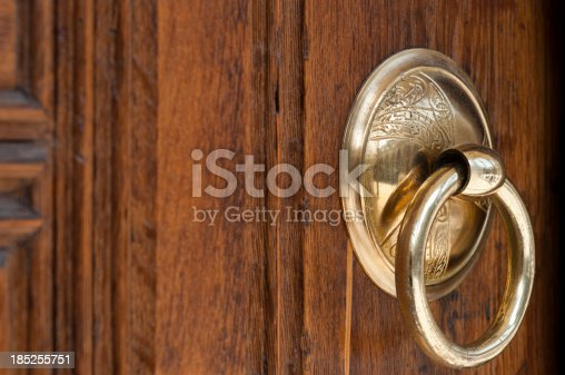 istock Vintage image of ancient door knocker on a wood 185255751
