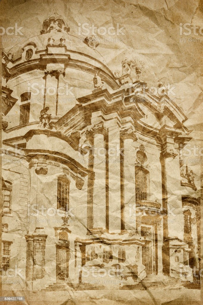 vintage image of church stock photo