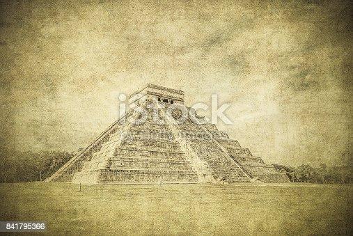 istock Vintage image of El Castillo or Temple of Kukulkan pyramid, Chichen Itza, Yucatan, Mexico 841795366