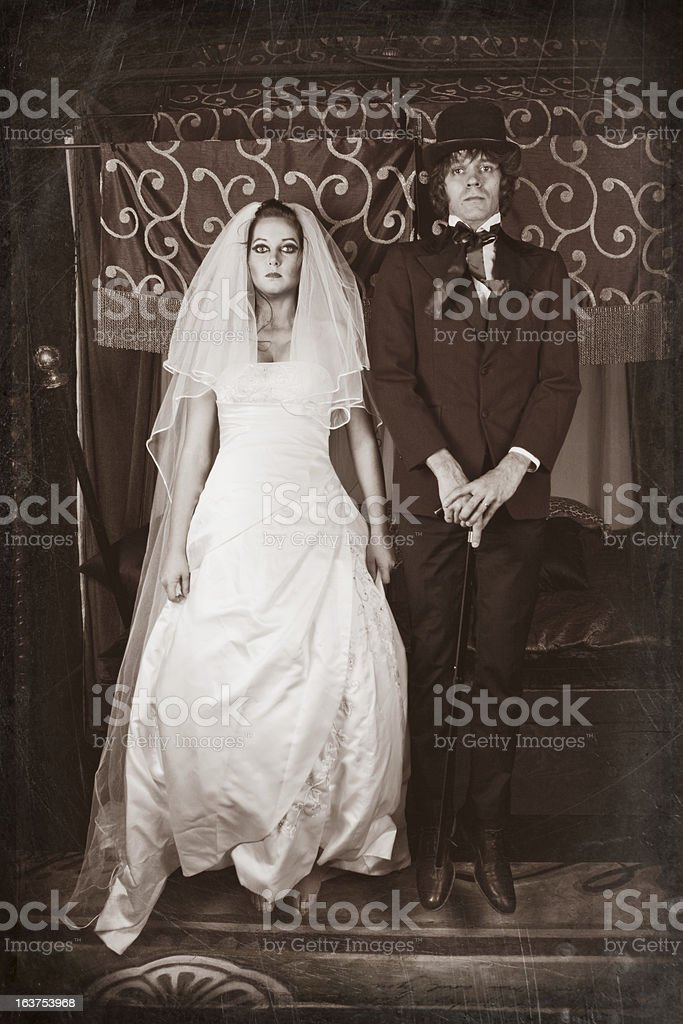 Vintage Image of Levitating Bride and Groom stock photo