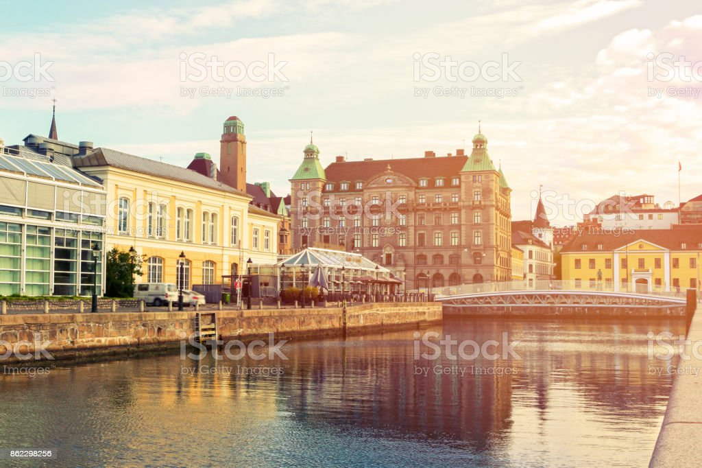 Vintage image of Malmo City urban landscape and skyline, Sweden stock photo