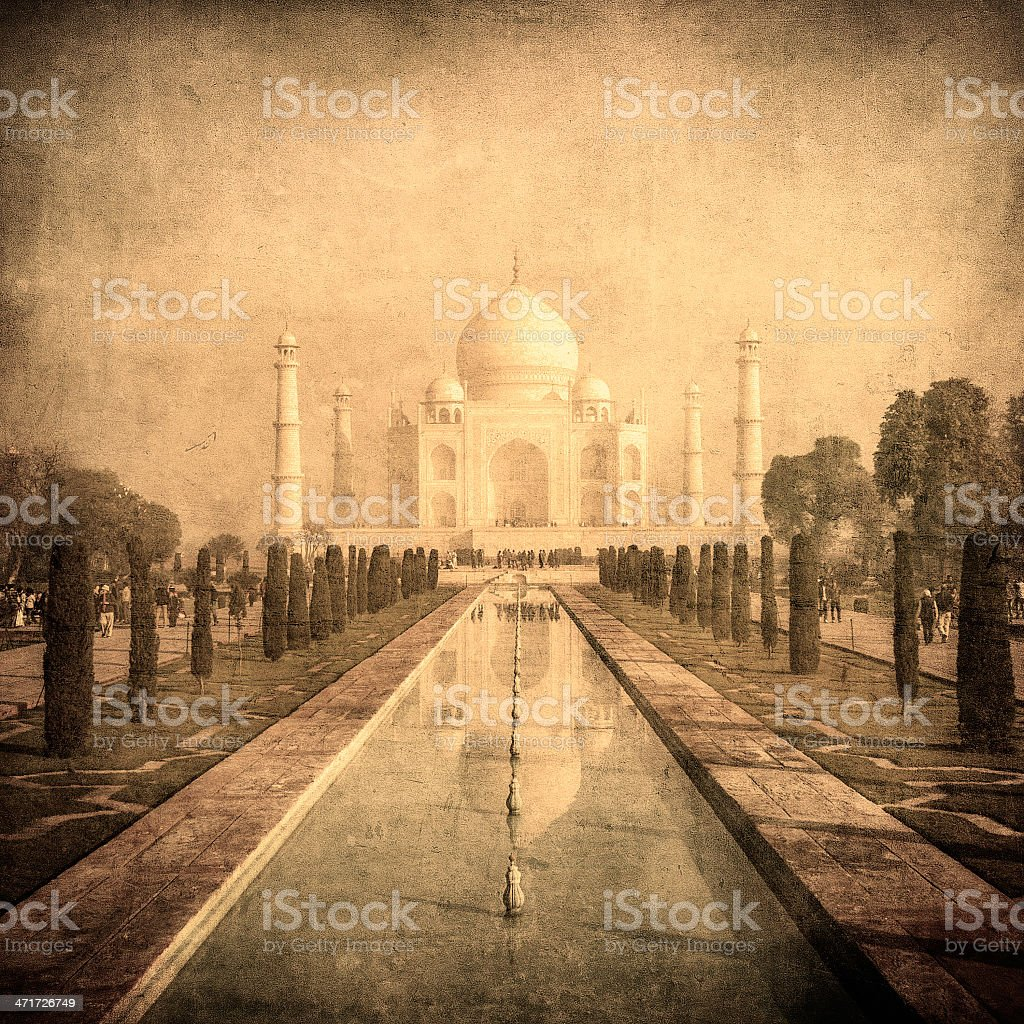 Vintage image of Taj Mahal, Agra, India royalty-free stock photo