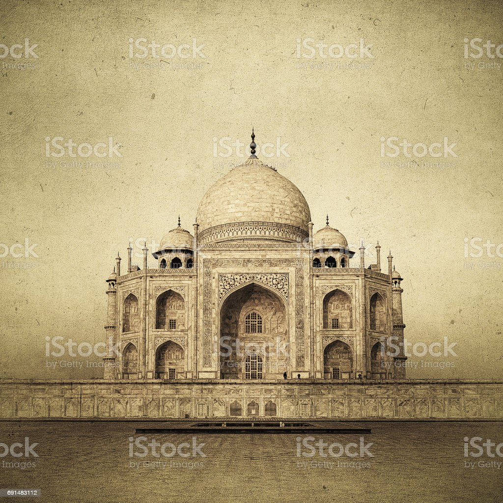 Vintage image of Taj Mahal at sunrise, Agra, India stock photo
