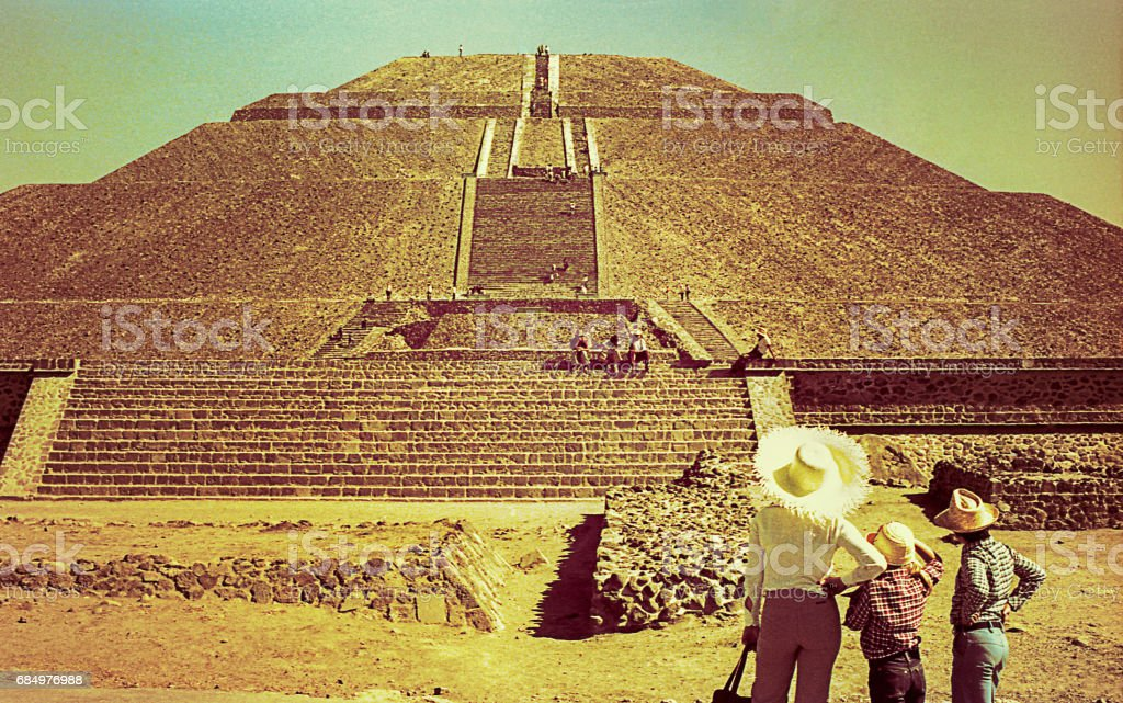 Vintage image of the Pyramid of the Sun, Mexico stock photo