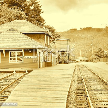 Vintage image of the railway station. Port Alberny. Vancouver island. British Columbia. Canada.