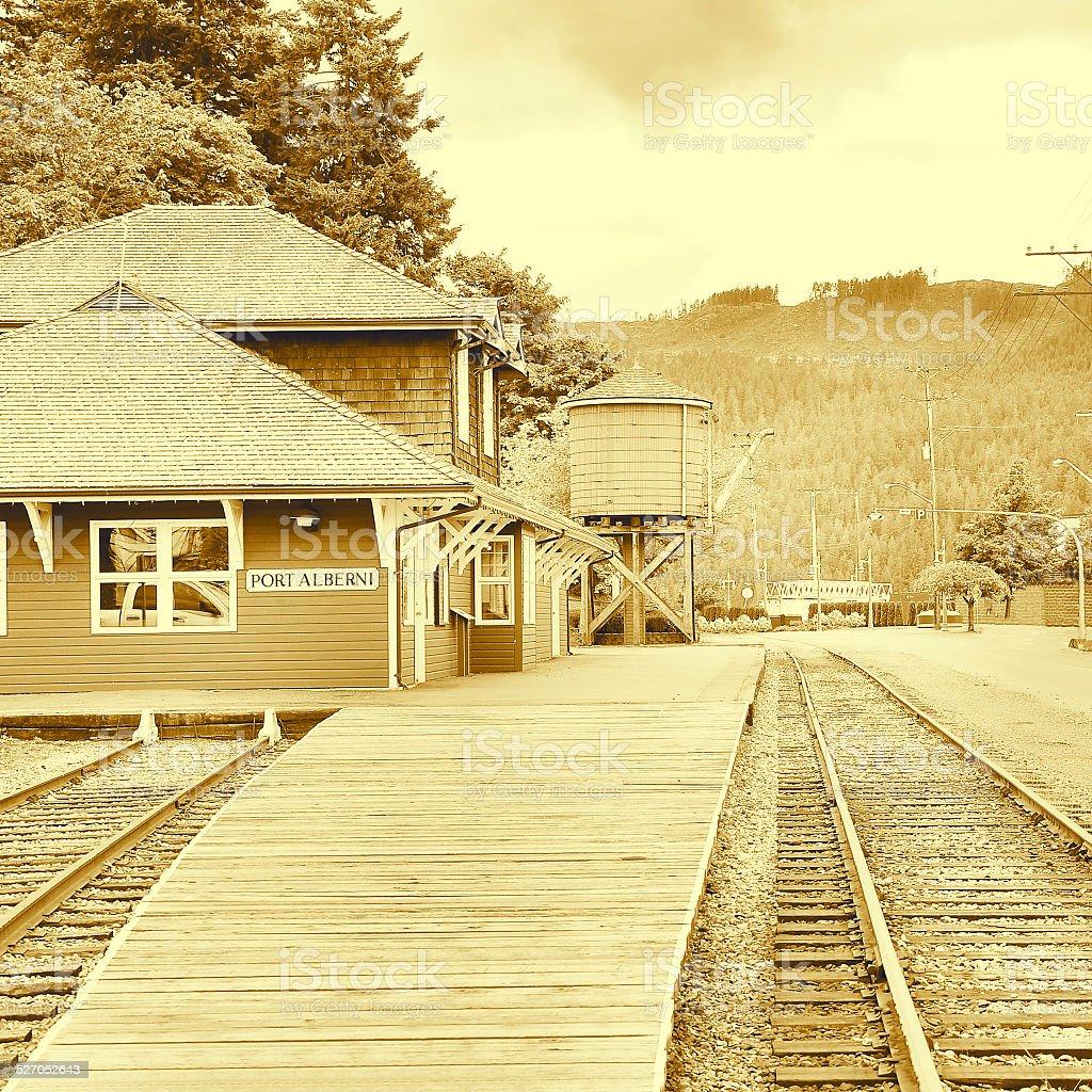 Vintage image of the railway station. stock photo