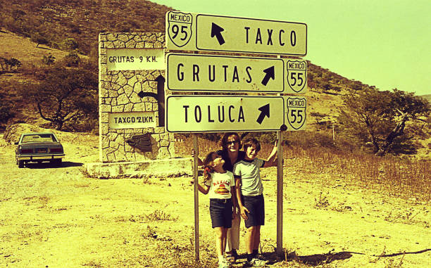 Vintage image on the road in Mexico stock photo