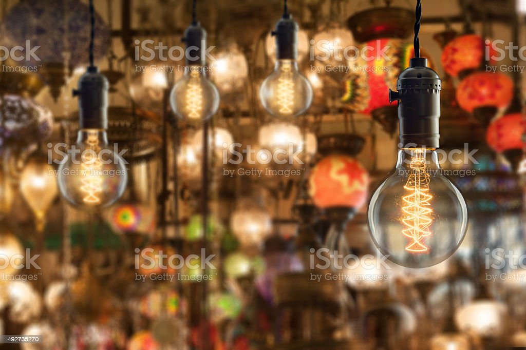 Vintage incandescent bulbs on light equipment market in Istanbul stock photo