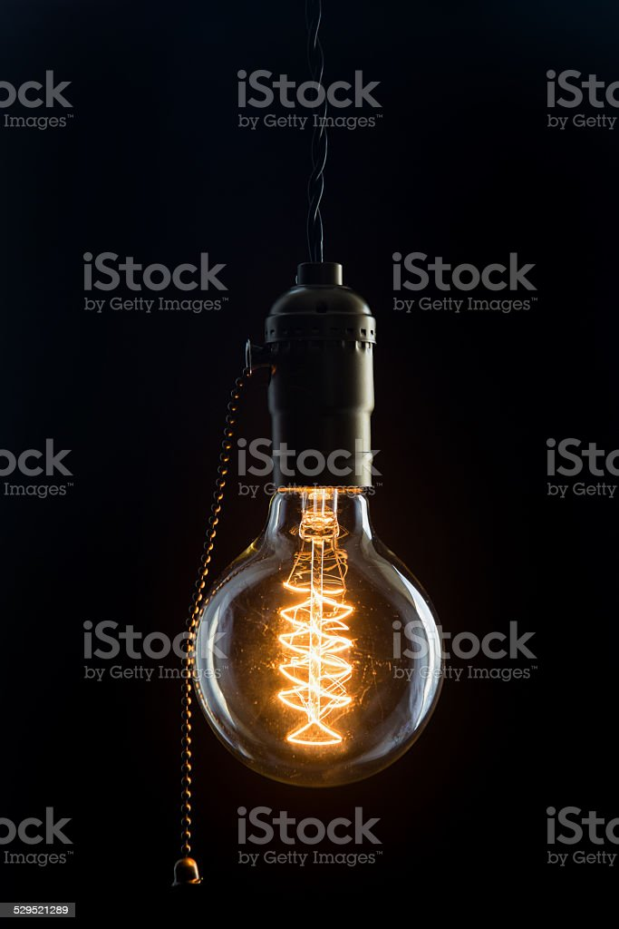 Vintage incandescent Edison type bulb stock photo