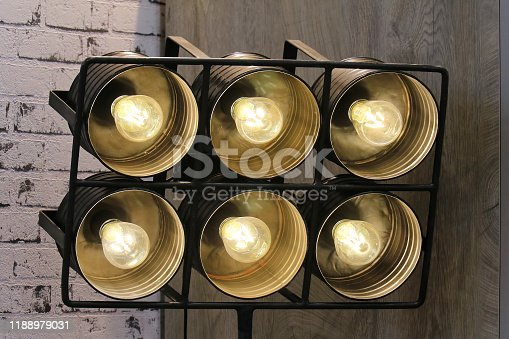 Vintage reflector hot lights on metal stand