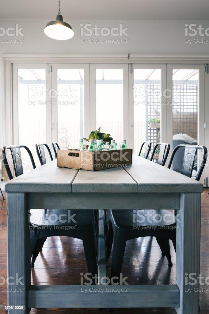 Vintage industrial styled contemporary interior stock photo