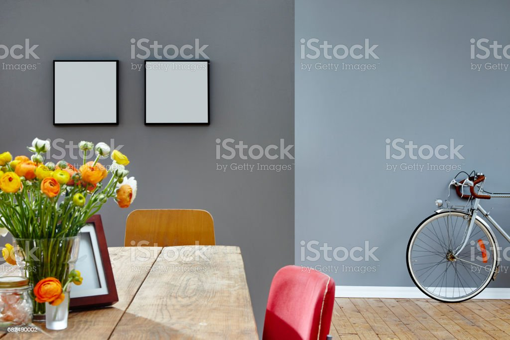 vintage interior vivid atmosphere table and bycicle royalty-free stock photo