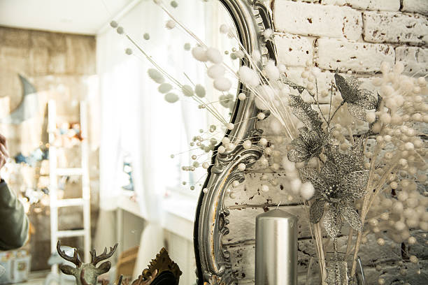 Vintage interior with a mirror in beautiful frame stock photo