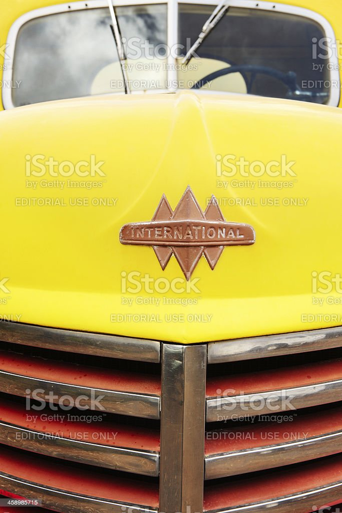 Vintage International Truck Grille Hood Emblem stock photo